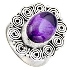 6.80cts natural purple amethyst 925 silver solitaire ring jewelry size 8 r3112