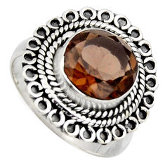 5.52cts brown smoky topaz 925 sterling silver solitaire ring size 8 r3121