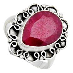 6.58cts natural red ruby 925 sterling silver solitaire ring size 7.5 r3125