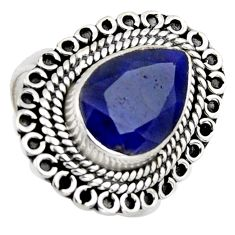 4.71cts natural blue sapphire 925 sterling silver solitaire ring size 7.5 r3145