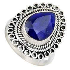 5.12cts natural blue sapphire 925 sterling silver solitaire ring size 8.5 r3146