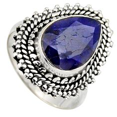 4.82cts natural blue sapphire 925 sterling silver solitaire ring size 7 r3147