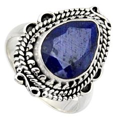 5.09cts natural blue sapphire 925 sterling silver solitaire ring size 7.5 r3151
