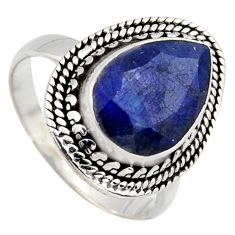 5.11cts natural blue sapphire 925 sterling silver solitaire ring size 8 r3156