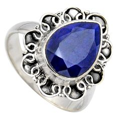 5.31cts natural blue sapphire 925 sterling silver solitaire ring size 8.5 r3157