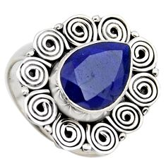 5.18cts natural blue sapphire 925 sterling silver solitaire ring size 8.5 r3159