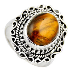 5.12cts natural brown tiger's eye 925 silver solitaire ring jewelry size 8 r3161