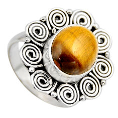 5.12cts natural brown tiger's eye 925 silver solitaire ring size 7.5 r3162