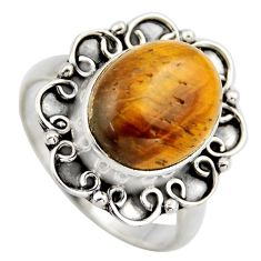 5.06cts natural brown tiger's eye 925 silver solitaire ring size 7.5 r3163