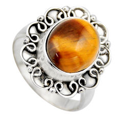 925 silver 5.31cts natural brown tiger's eye solitaire ring jewelry size 8 r3164