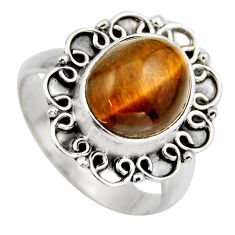 5.75cts natural brown tiger's eye 925 silver solitaire ring size 8.5 r3165