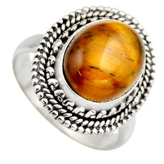5.75cts natural brown tiger's eye 925 silver solitaire ring jewelry size 7 r3167