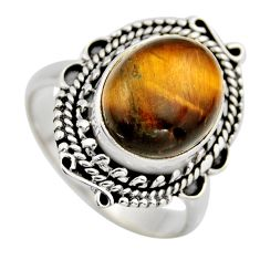 5.37cts natural brown tiger's eye 925 silver solitaire ring size 7.5 r3170