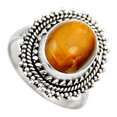 5.01cts natural brown tiger's eye 925 silver solitaire ring jewelry size 9 r3171