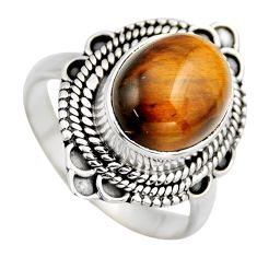 925 silver 5.24cts natural brown tiger's eye solitaire ring jewelry size 9 r3173