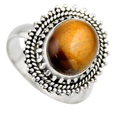 5.28cts natural brown tiger's eye 925 silver solitaire ring jewelry size 9 r3174