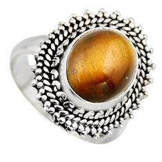 5.25cts natural brown tiger's eye 925 silver solitaire ring jewelry size 8 r3175