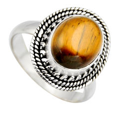 925 silver 5.30cts natural brown tiger's eye oval solitaire ring size 8.5 r3177
