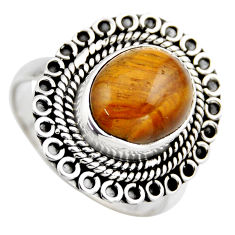 5.12cts natural brown tiger's eye 925 silver solitaire ring jewelry size 9 r3179