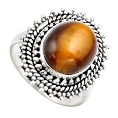 925 silver 5.71cts natural brown tiger's eye oval solitaire ring size 7.5 r3180