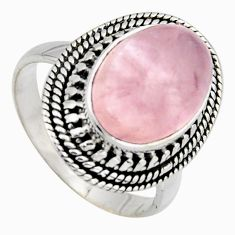 6.79cts natural pink rose quartz 925 sterling silver solitaire ring size 8 r3185