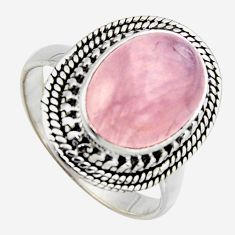 6.80cts natural pink rose quartz 925 silver solitaire ring jewelry size 9 r3197