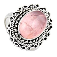 6.39cts natural pink rose quartz 925 silver solitaire ring jewelry size 7 r3199
