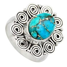 5.41cts blue copper turquoise 925 sterling silver solitaire ring size 7.5 r3219