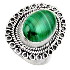6.88cts natural green malachite 925 silver solitaire ring size 7 r3223