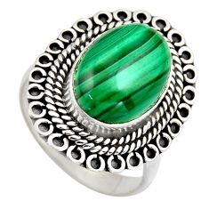 6.55cts natural green malachite 925 silver solitaire ring size 8.5 r3228