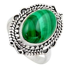 925 silver 6.83cts natural green malachite oval solitaire ring size 7.5 r3230