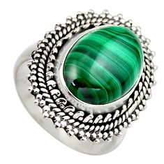 925 silver 6.80cts natural green malachite oval solitaire ring size 7 r3239
