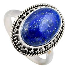 6.83cts natural blue lapis lazuli 925 silver solitaire ring jewelry size 9 r3241