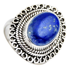 6.89cts natural blue lapis lazuli 925 silver solitaire ring size 8.5 r3253