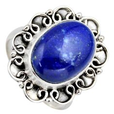 6.58cts natural blue lapis lazuli 925 silver solitaire ring jewelry size 7 r3254