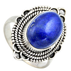6.89cts natural blue lapis lazuli 925 silver solitaire ring jewelry size 8 r3255