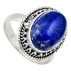 6.48cts natural blue lapis lazuli 925 silver solitaire ring jewelry size 7 r3257
