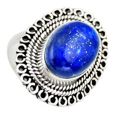 7.23cts natural blue lapis lazuli 925 silver solitaire ring size 7.5 r3260