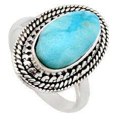 4.73cts natural blue larimar 925 sterling silver solitaire ring size 7.5 r3261