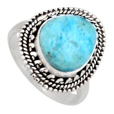 5.27cts natural blue larimar 925 sterling silver solitaire ring size 8 r3262