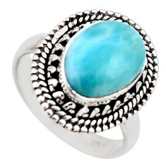 4.53cts natural blue larimar 925 sterling silver solitaire ring size 7 r3263