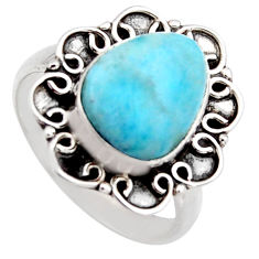 925 sterling silver 4.42cts natural blue larimar solitaire ring size 7 r3264