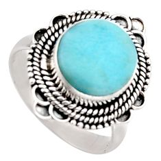 5.30cts natural blue larimar 925 silver solitaire ring jewelry size 9 r3265