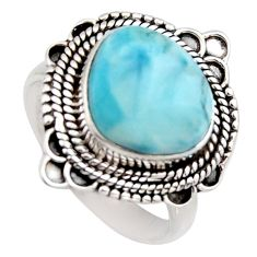 6.03cts natural blue larimar 925 sterling silver solitaire ring size 8 r3266