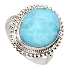 11.23cts natural blue larimar 925 sterling silver solitaire ring size 8.5 r3267