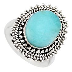 5.93cts natural blue larimar 925 sterling silver solitaire ring size 7.5 r3268