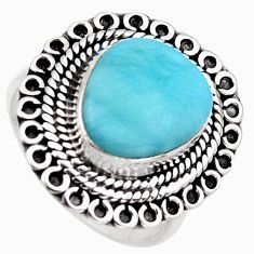 925 sterling silver 5.97cts natural blue larimar solitaire ring size 8 r3269