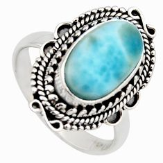 5.53cts natural blue larimar 925 sterling silver solitaire ring size 8.5 r3270