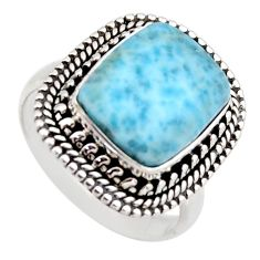 5.30cts natural blue larimar 925 sterling silver solitaire ring size 7.5 r3271