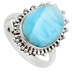 9.86cts natural blue larimar 925 sterling silver solitaire ring size 9 r3272